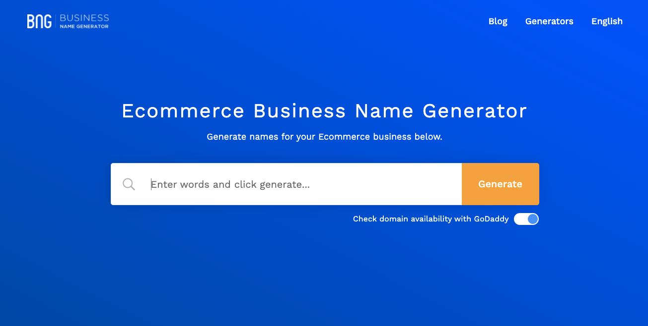 Gerador de nomes: Ecommerce Business Name Generator