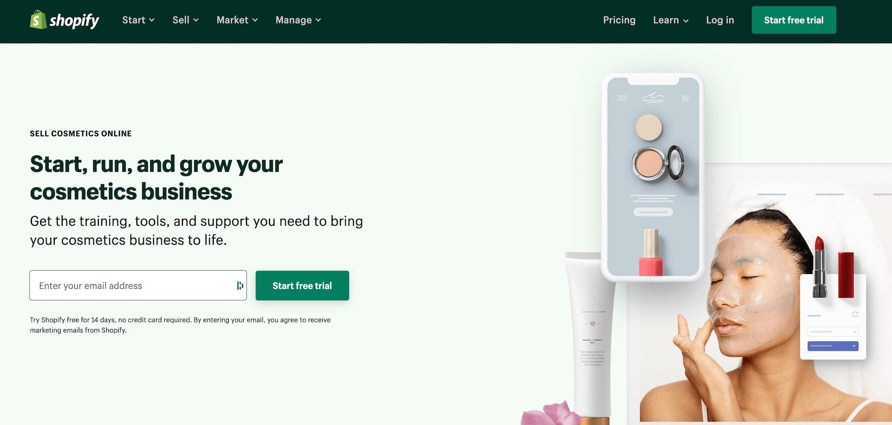 start skincare store on Shopify