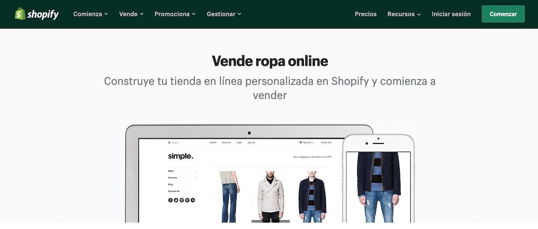 plataformas para vender ropa online shopify