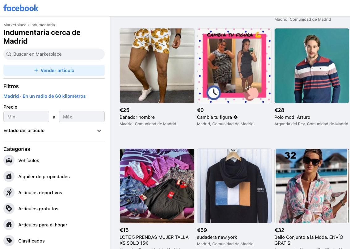 vender ropa por internet con facebook