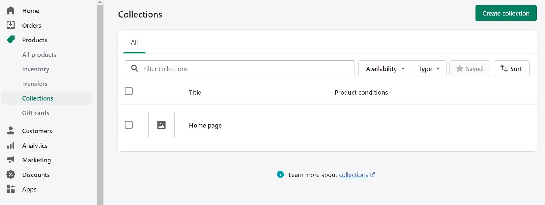 create collections in shopify