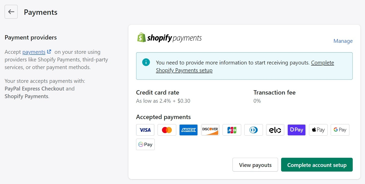 setting up shopify payments