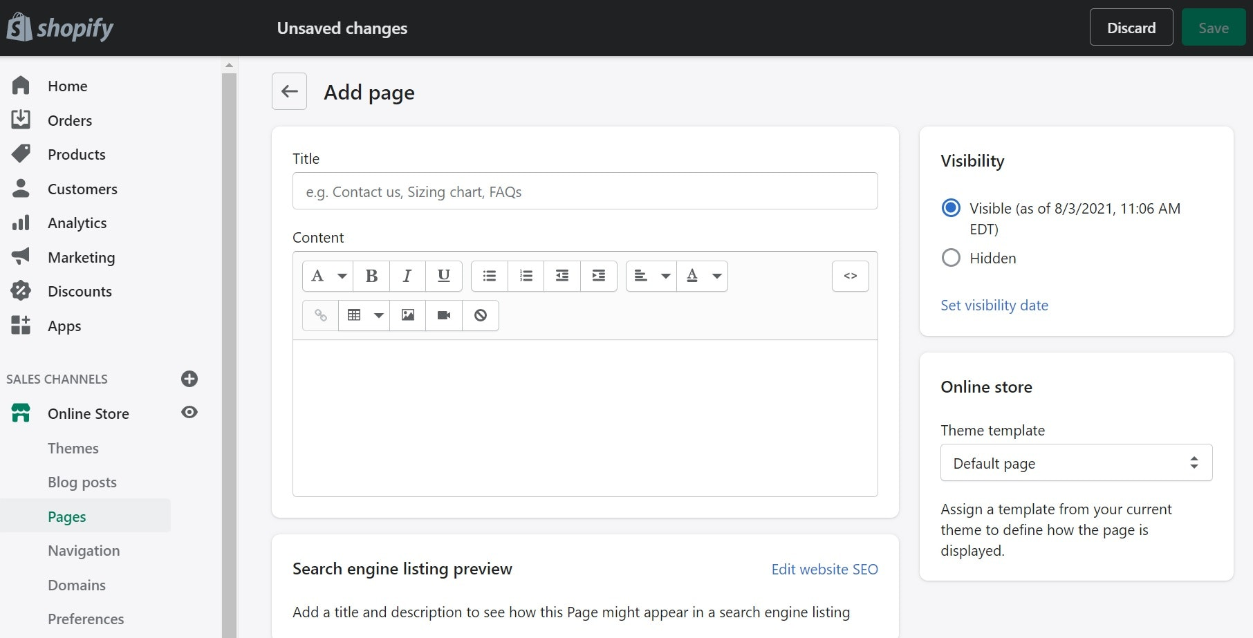 add pages in Shopify