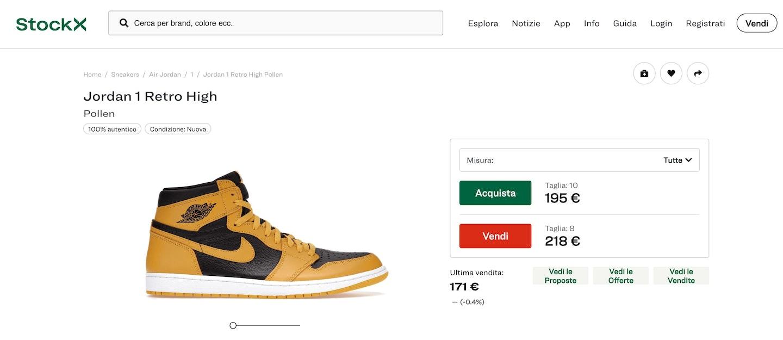 vendere scarpe online su stockx
