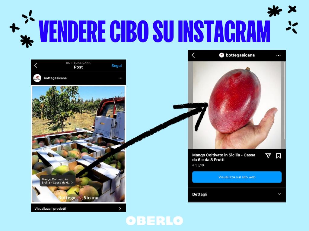 vendere cibo online su instagram