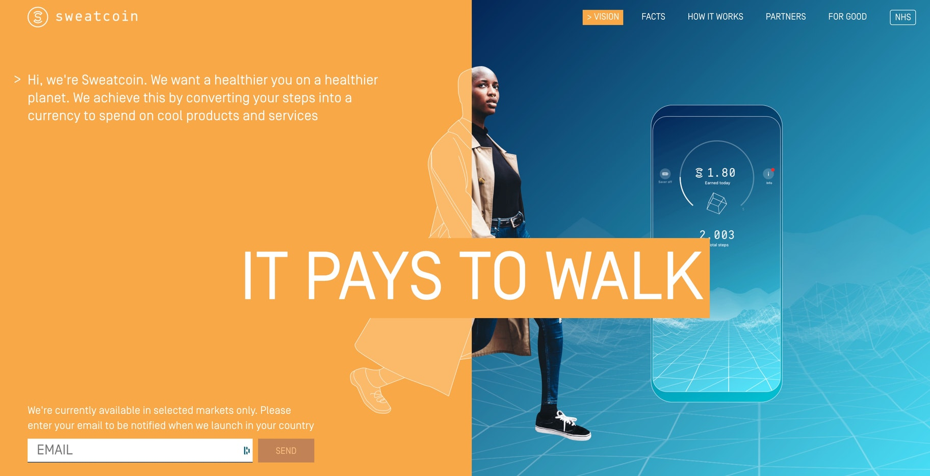 Get paid for walking: Sweatcoin