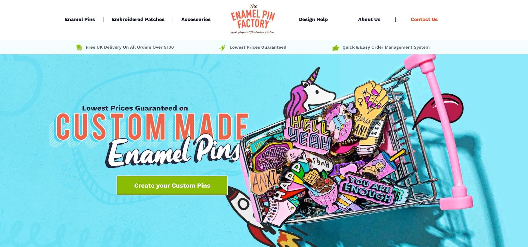 Shopify enamel pin store: The Enamel Pin Factory