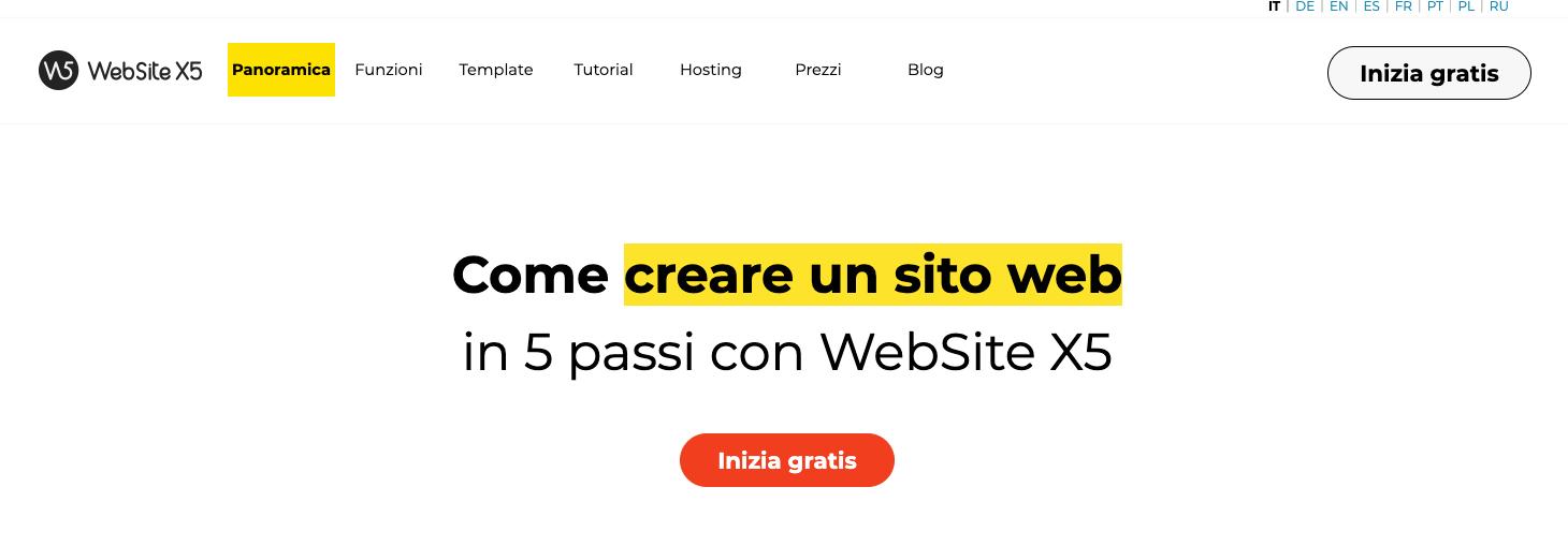 websitex5 per creare siti web