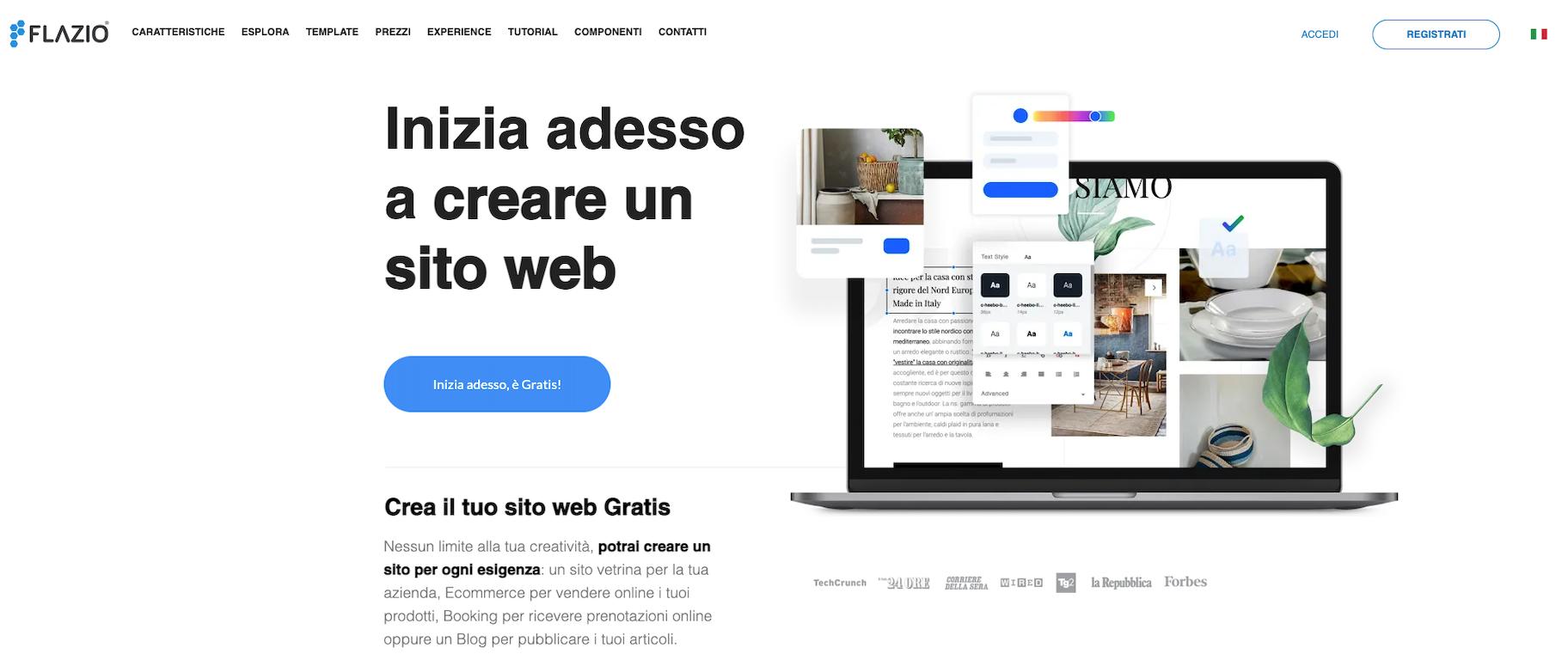 creare sito web con flazio