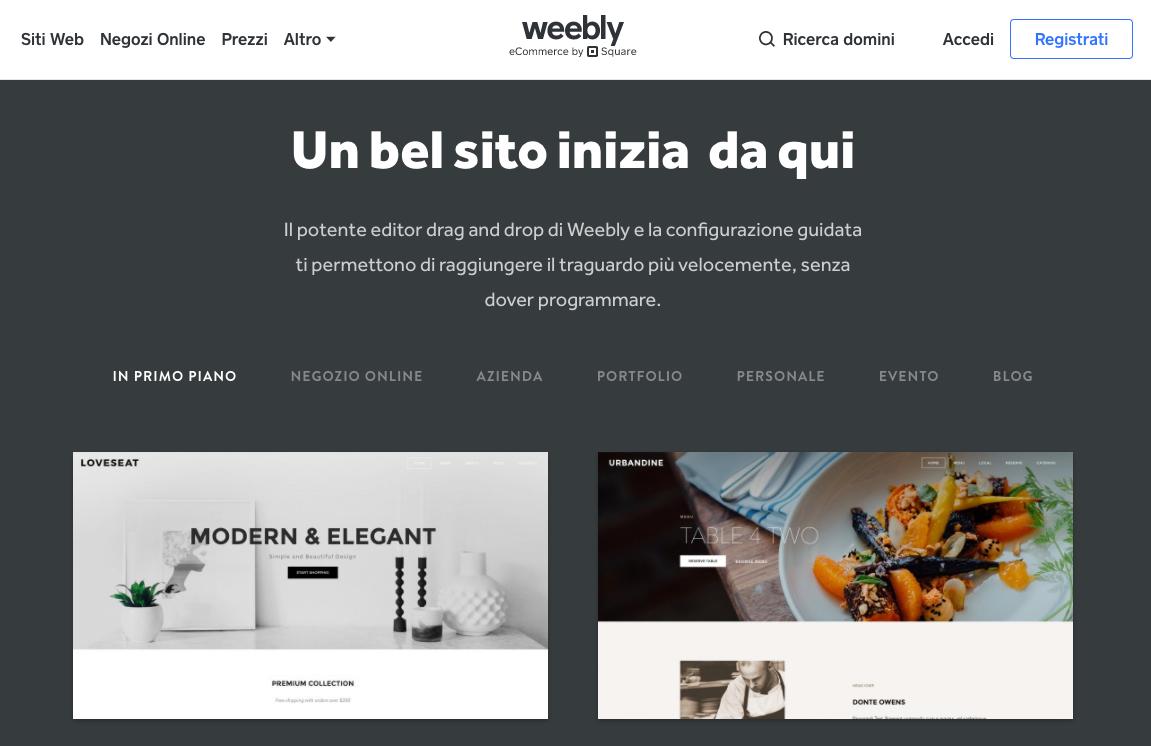 crea siti web con weebly