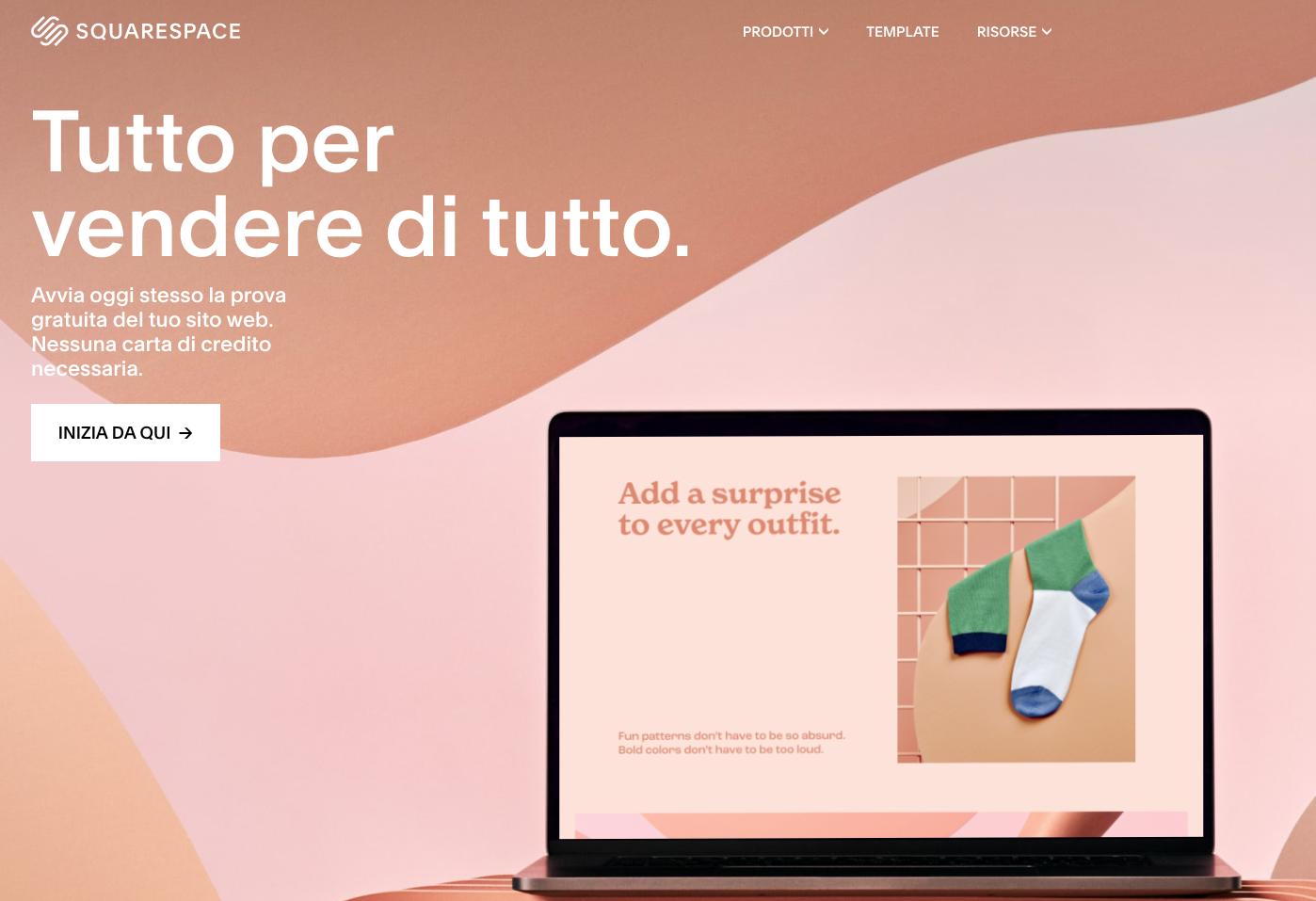squarespace per creare un sito
