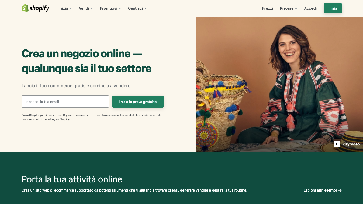 creare siti web con shopify