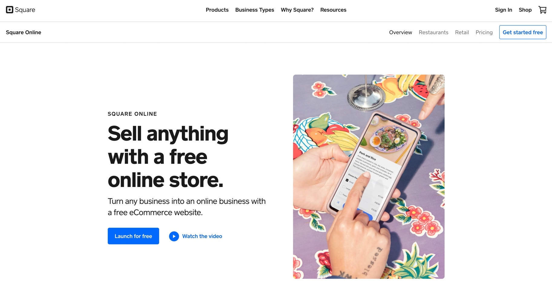 Shopify competitor in ecommerce: Square Online