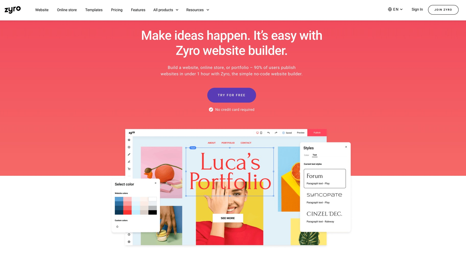fast store builder: Zyro