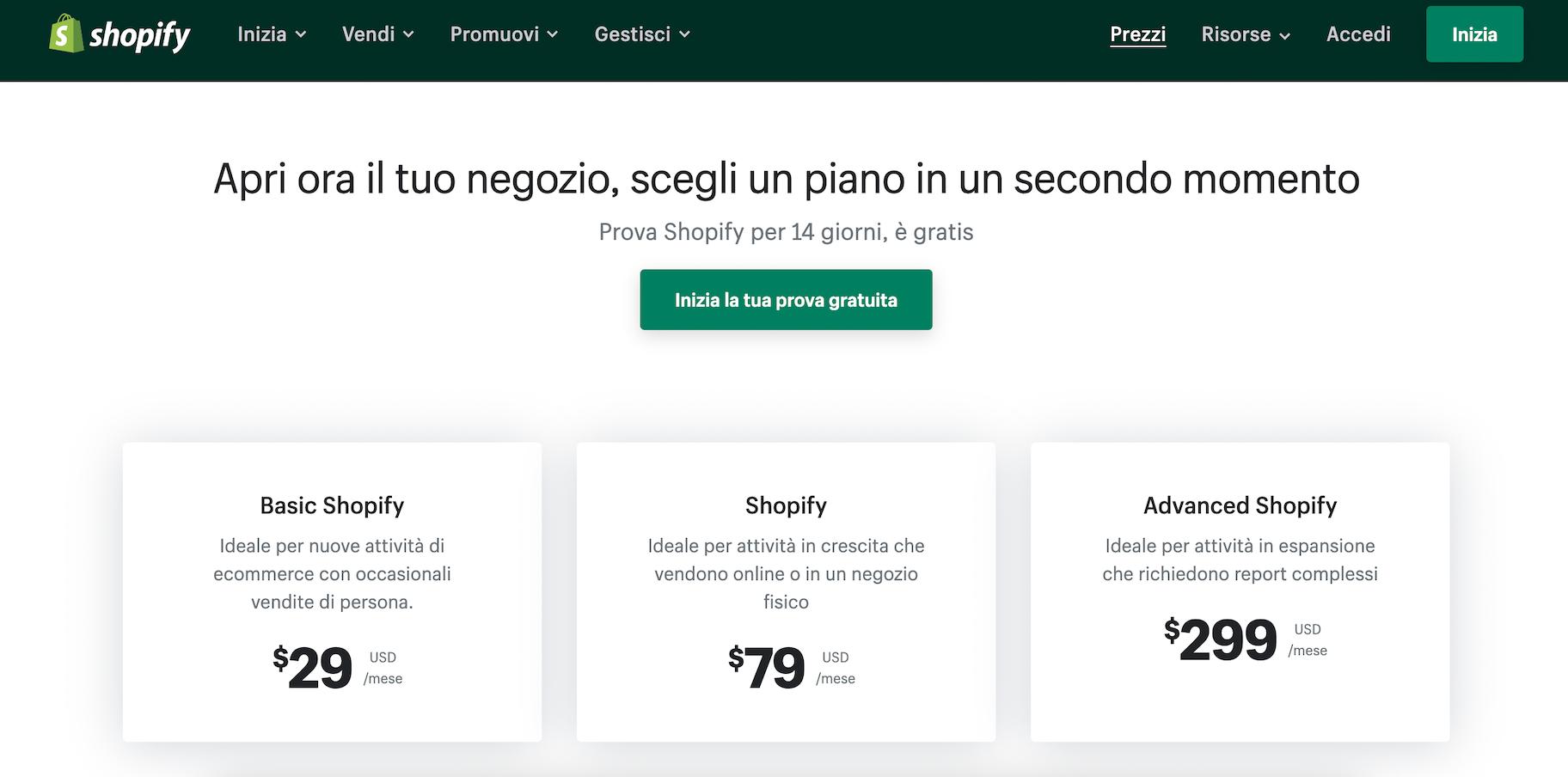 prezzi shopify